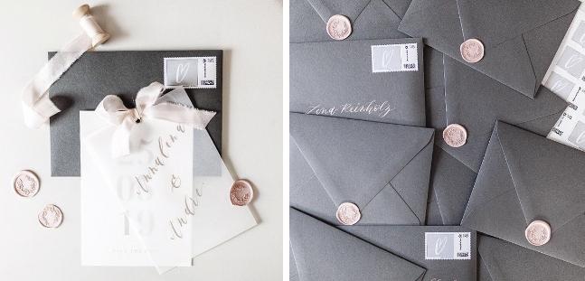 Die Kombination aus rosa und grau, verstehen sich Wunderbar und lassen die Einladungskarten verträumt wirken