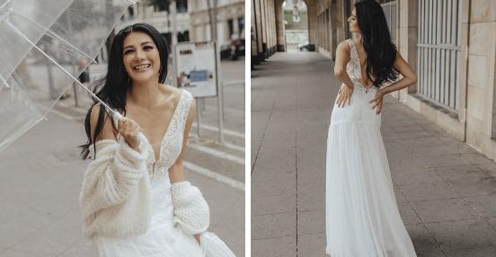 Fröhlich und glücklich über die Wahl des tollen Brautkleides