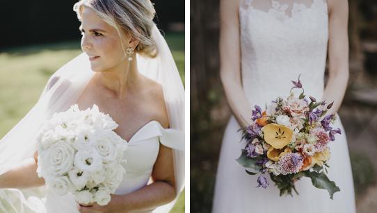Egal ob in schlicht weiß oder kunterbunt, jeder Brautstrauß hat seine eigene Aussagekraft und passt sich der individuellen Dekothematik der traumhaften Hochzeit an.