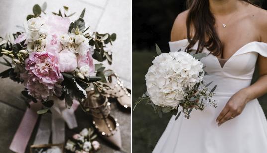 Auf der linken Seite sieht man einen süßen Traum in rosa, rechts hingegen einen strahlend weißen Brautstrauß. Beides sehr schön.